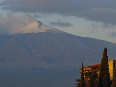 Mount Etna Volcano from Taormina, Mount Etna Region, Sicily, Italy, Europe