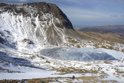 The Frozen Llyn Y Gadair Below Summit of Cyfrwy
