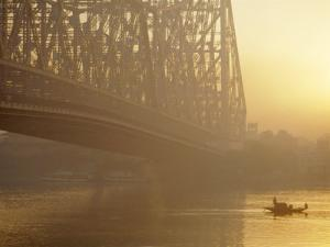 The Howrah Bridge Over the Hugli River, Calcutta, West Bengal, India by Duncan Maxwell