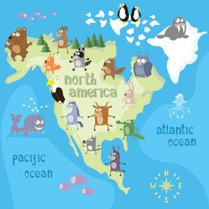 Concept Design Map of North American Continent with Animals Drawing in Funny Cartoon Style for Kids by Dunhill