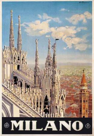 Duomo, Milano Italy- Vintage Travel Poster