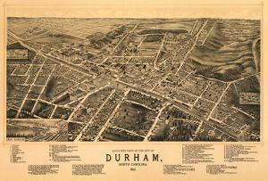 Durham, North Carolina - Panoramic Map