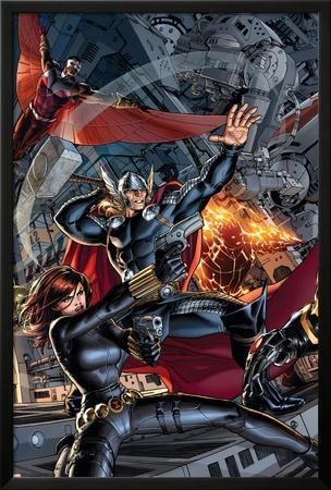 Avengers #2 Cover: Black Widow, Falcon, Thor, Sunspot