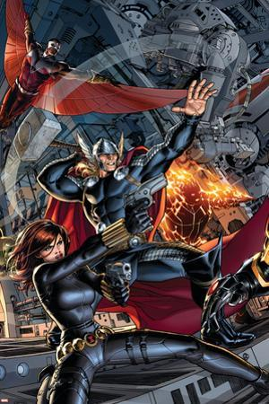 Avengers #2 Cover: Black Widow, Falcon, Thor, Sunspot by Dustin Weaver