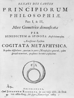 Titlepage to 'Renati Descartes Principiorum Philosophie' by Baruch Spinoza, Published in 1663 by Dutch