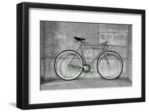 A Fixed-Gear Bicycle (Also Called Fixie) In Black And White With A Green Chain by Dutourdumonde