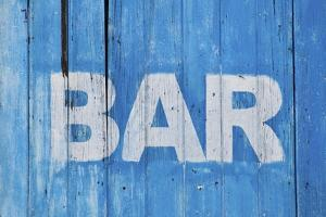 White Bar Sign Painted On A Dilapidated Blue Wooden Wall by Dutourdumonde