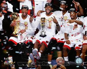 Dwyane Wade, LeBron James, Chris Bosh, & Norris Cole Celebrate after Game 7 of the 2013 NBA Finals