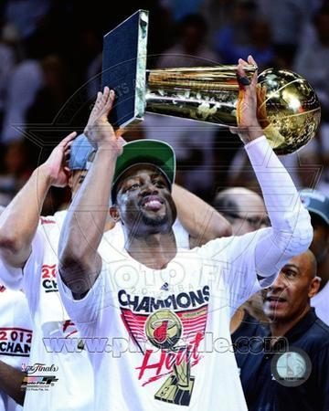 Dwyane Wade with the NBA Championship Trophy Game 5 of the 2012 NBA Finals