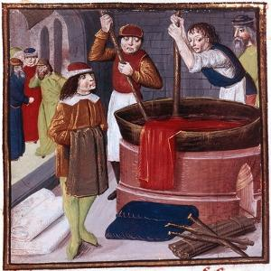 Dyers Immersing Bolt of Cloth in Vat of Dye Placed over a Fire, 15th Century