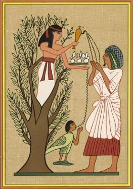 As Loving Mother-Goddess Mut Pours Water from the Sycamore Tree Over a Deceased Person and His Soul by E.a. Wallis Budge