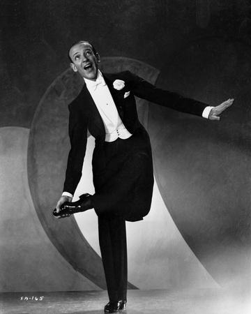 Fred Astaire standing on One Foot in Black and White