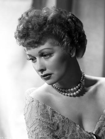 Lucille Ball Posed with Pearl Necklace