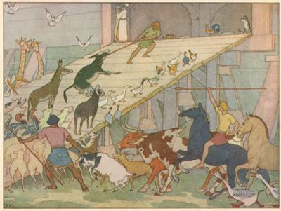 Noah's Ark, Noah's Sons Encourage the Animal Couples to Board the Ark