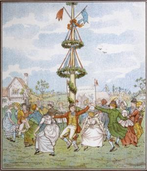 Country People Dance Round the Maypole the Girls Ducking in and out of the Ring Formed by the Men by E. Casella