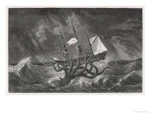 Kraken Attacking a Sailing Vessel During a Storm by E. Etherington