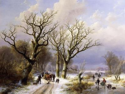 A Wooded Winter Landscape with Figures, 1863 by E.J. Verboeckhoven and J.B. Klombeck