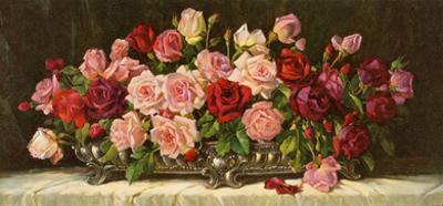Rosen in Silberner Schale by E. Kruger