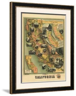 The Unique Map of California, c.1885 by E. M. Johnstone