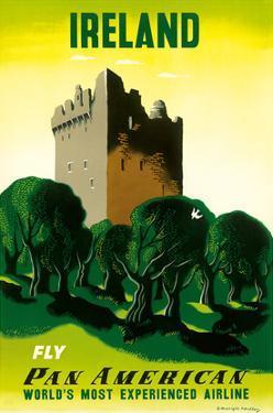 Ireland - Irish Castle - Pan American Airlines (PAA) by E. McKnight Kauffer
