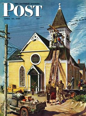 """Church Belfry Repair,"" Saturday Evening Post Cover, April 20, 1946 by E. Melbourne Brindle"