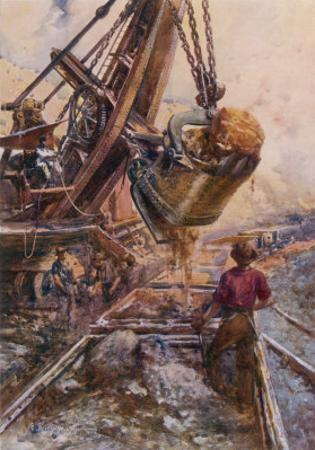 Using a Steam Shovel to Clear Away Heavy Debris While Constructing a Railway