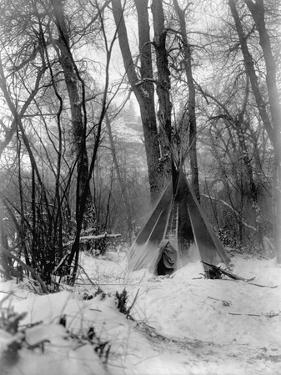 A Tepee in a Snow Covered Forest by E.S Curtis