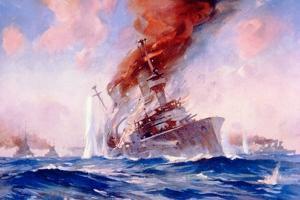 Battle of the Falklands: Sinking of the Scharnhorst, 1914 by E. S. Hodgson