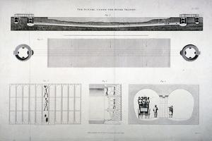 Plan, Sections and Elevations of the Thames Tunnel, London, 1835 by E Turrell