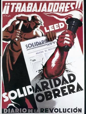 Republican Spanish Civil War Poster by E. Vicente