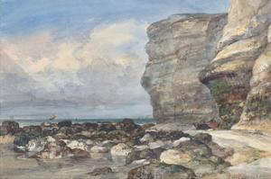 The Rocky Beach and Cliffs at Fecamp by E.W. Cooke