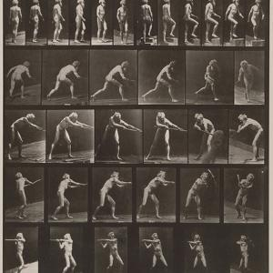 A, walking; B, ascending step; C, throwing disk; D, using shovel; E, using pick; F, using pick by Eadweard Muybridge