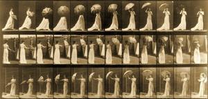 Woman Opening Umbrella from 'Animal Locomotion' Series, C.1887 by Eadweard Muybridge