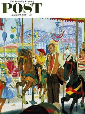 """""""Amusement Park Carousel"""" Saturday Evening Post Cover, August 9, 1958 by Earl Mayan"""