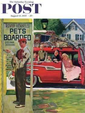 """""""Boarding the Dog"""" Saturday Evening Post Cover, August 24, 1957 by Earl Mayan"""