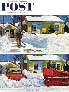 """""""Plowed-Over Driveway"""" Saturday Evening Post Cover, December 18, 1954 by Earl Mayan"""