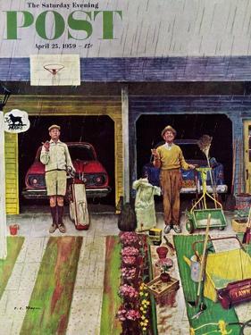 """Saturday Rain"" Saturday Evening Post Cover, April 25, 1959 by Earl Mayan"