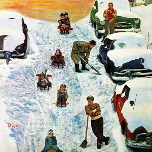 """""""Sledding and Digging Out,"""" January 28, 1961 by Earl Mayan"""