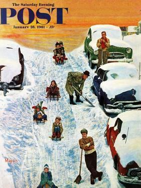 """""""Sledding and Digging Out,"""" Saturday Evening Post Cover, January 28, 1961 by Earl Mayan"""