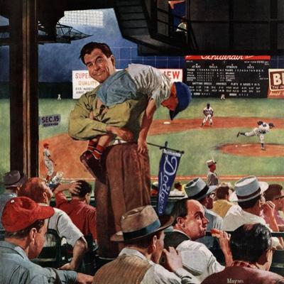 """Sleepy Inning"", April 23, 1955 by Earl Mayan"