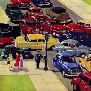 """Traffic Jam"", April 28, 1956 by Earl Mayan"