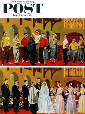 """""""Wedding and Rehearsal"""" Saturday Evening Post Cover, June 2, 1956 by Earl Mayan"""