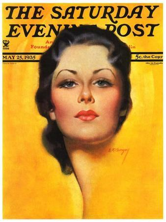 """""""Brunette,"""" Saturday Evening Post Cover, May 25, 1935"""