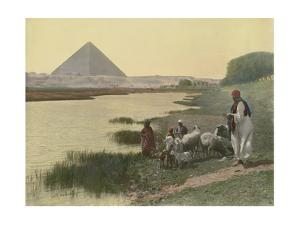 Shepherds Tend Animals at the Nile's Bank; Pyramid Is in Background by Earle Harrison