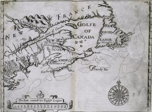 Early 17th-Century Map of the North American Coast from Cape Cod to Newfoundland