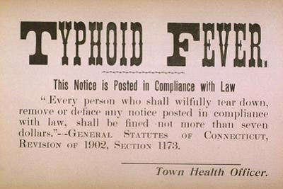 Early 20th Century Quarantine Sign For the Contagious Disease Typhoid Fever