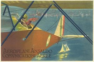 Early Italian Airplane over Sailing Ship