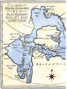 Early Map of Hudson's Strait and Hudson's Bay, 1662, in Arctic Canada