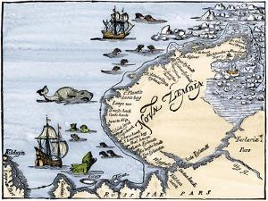 Early Map Showing Nova Zembla Off the Arctic Coast of Russia, Probably 1600