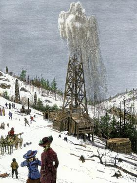 Early Oil Well Gushing in Pennsylvania 1880